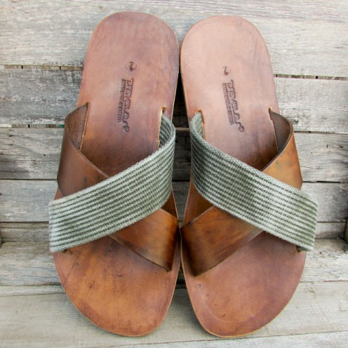 Mens Classic Wide Criss-Cross Flip Flops with Band