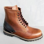 Mens 5 Inch Handmade Cowhide  Leather Boots With Leather Patches